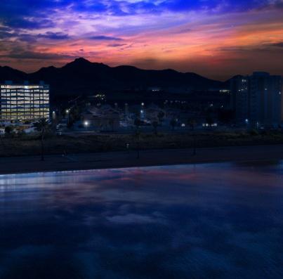 Vista nocturna urbanización
